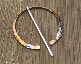 Circle Shawl pin, Scarf Pin, scarf jewelry brooch, Bronze Shawl Pin, Scarf jewelry Pin for Hand Knit, Sweater Pin, Scarf Shawl Pin