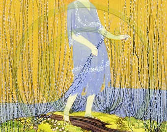 Ginger Lady, Redhead, Barefoot, Woman, Art 1920s Print - Lady Next To The Stream