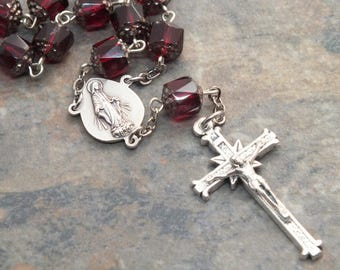 Car Rosary in Garnet Czech Glass Cathedral Beads, Auto Rosary, Single Decade Rosary, Catholic Chaplet, Car Chaplet, 1 Decade Chaplet