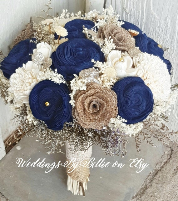 Navy Blue Sola Bouquet Blue Champagne Ivory Bouquet Wedding