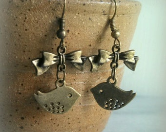 Little Bird Earrings, Antique Bronze Metal, Swallow, Bow, Dangle Earrings, Gift For Her, By ktnunna