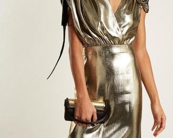 100% silk lamé ancient gold haute Couture