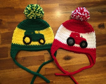Crochet Tractor Hat - Green or Red