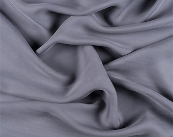 Gray Silk Double Georgette, Fabric By The Yard