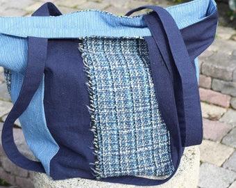 Tote bag, handbag in shades of blue fabrics