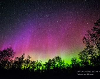 Northern Lights Photo, Night Photography, Aurora Borealis, Fine Art Print, Blue Green Purple, Magical, Spring Night, Wisconsin, Home Decor