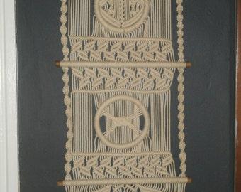 Vintage Long 1970's Macrame Cotton Cord Wall Hanging Art
