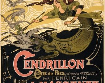 "Emile Bertrand Art Nouveau Poster : ""Cendrillon - J. Massenet"" (1899) - Giclee Fine Art Print"