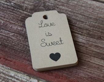 Love is Sweet Favor Tags, Wedding Favor Tags, Wedding Favors, Wedding Tags, Personalized Tags, Gift Tag, Hang Tag