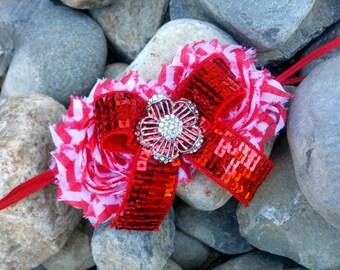 Christa- Red sequin headband, rhinestone headband, holiday headband, sequin headband, flower headband, candy cane headband