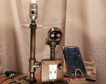 Industrial Steampunk Cell Phone Charger Robot Stand - USB Cell Charger Robot - Steampunk Robot