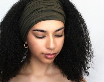Dark Olive Turban Head Band, Yoga headband, Wide Headband, Pretied Turban, Chemo Hat 298-20a