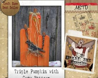 Wooden Pumpkin Pattern, Primitive Halloween Pattern, Primitive Fall Pattern,  Pumpkin and Crow, Primitive Pumpkin