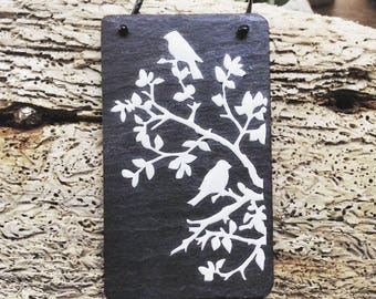 """Slate necklace with a resined white decoupage featuring """"birds in the branches"""""""