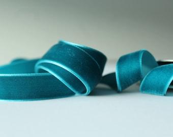 5/8 inch Teal Velvet Ribbon / Blue Green Velvet /   VRNA58-63