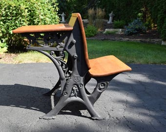 Vintage Wrought Iron School Desk w/ Original Ink Well ~ SkyLler Décor