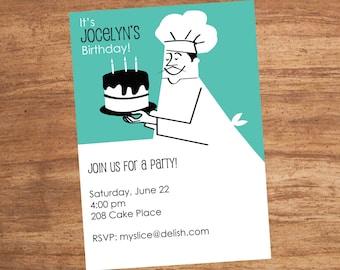 Chef Cake Party Invitation