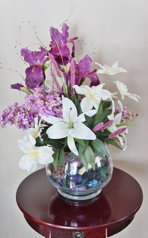 Flower arrangement home decor iris lilies lilac purple and white arrangement silk floral arrangement floral decor center piece zoom izmirmasajfo