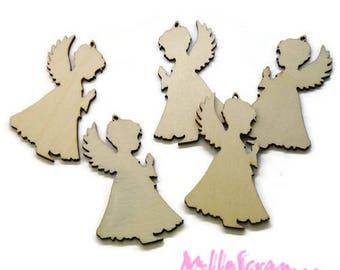 Set of 5 Angels Christmas wood scrapbooking cardmaking jewelry *.