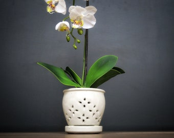 "Hilo 2018 Edition (LARGE 7.0"") Handmade Ceramic Orchid Pot With Attached Saucer, Glazed Pottery, Glazed Pottery, Orchid Planter"