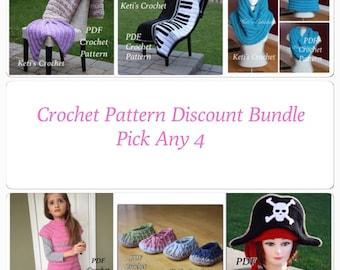 Pick Any 4 Patterns,Crochet Pattern,Pattern Value Bundle,Crochet Pattern Discount,Designer Pattern Discount,Pattern Discount Package,Pattern