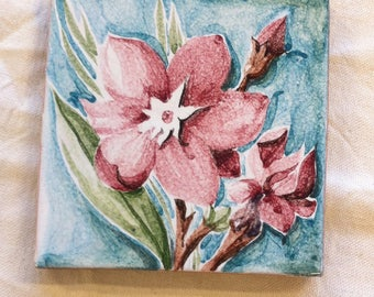 Ceramic handcrafted Oleander flowers. Collection of tiles. Decorative plaque gift.