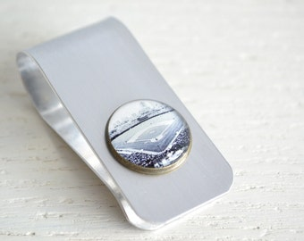 Wrigley field money clip - industrial silver and brass money clip handcrafted in the USA - great groomsmen gift
