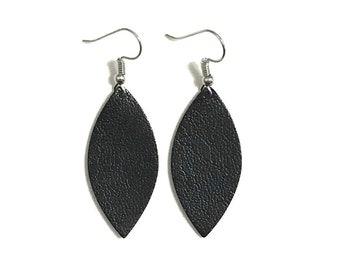 Black Leather Earrings / Leaf Earrings / Statement Earrings / Lightweight / Medium / Leather Jewelry / Ready to Ship!!