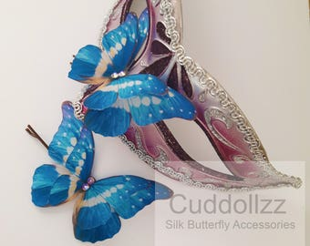 Butterfly Hair Clip Butterfly Hair Accessories Butterfly Hair Pin Silk Butterfly Butterfly Gifts Bobby Pins Hair Pin Woodland Wedding Blue