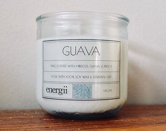 Guava Soy Wax Candle 10 oz. in Recycled Glass