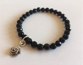 Black Onyx Bracelet-Energy Bracelet-Rose Charm