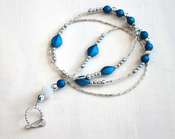 Blue and Silver Beaded Lanyard, ID Badge Holder, Bell Art Designs LAN0180