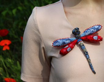 Textile red blue dragonfly brooch Recycled jewelry Woodland Mosaic fabric patchwork Vintage fiber art brooch Wearable art Insect jewelry
