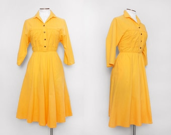 Vintage 80s Yellow Shirtwaist Dress with Full Skirt / Small