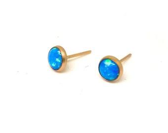 Opal Stud Earrings | Blue Stud Earrings | Blue Opal Earrings | Gold Stud Earrings | Opal Studs | Opal Earrings | Stud Earrings | Gold Studs