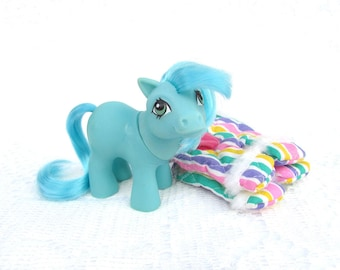 Vintage My Little Pony Mail Order Exclusive Baby Ember Blue Version With Pony Wear!