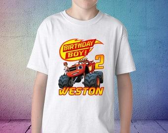 Blaze birthday shirt, Blaze and the monster machines birthday tshirt, blaze theme party shirts, blaze family shirts, Blaze matching shirts