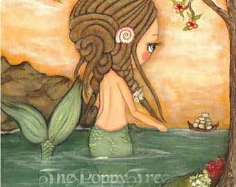 Mermaid Art Print Nautical Dreadlock Girl Ship Sail Tree Wall Art
