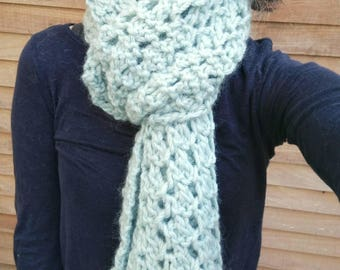 Duck egg scarf chunky knit scarf