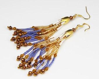 Earrings beaded fringed golden blue and gold Delica beads boho gift