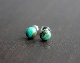 Turquoise Stud Earrings, Surgical Steel Stud Earrings, Stainless Steel, Turquoise Studs, Turquoise Earrings, Tiny Turquoise Studs, Gift, 6mm