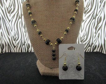 Black & Gold Pearl Necklace/Earrings Set
