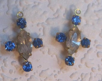 Swarovski Crystal, Clear, Light Sapphire, 20MM, A Pair, Multi 5 Stone, Navette, Rhinestone, Chaton surrounding, Brass, Prong, CB, Setting,