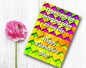 DIY Valentine's Card, Printable Valentine Card, Printable 5X7 Card, Valentine's Day Card, Heart Card, lime orange purple