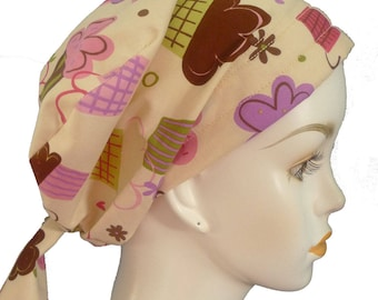 Womans Cancer Fun & Happy Cupcake Hair Loss Cancer Hat Chemo 100% cotton Head Scarf