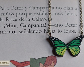A green butterfly necklace