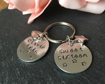 Sweet sixteen Key Ring, sweet sixteen gift, personalised birthday, Hand stamped key ring with charm, Initial key chain, birthday gift