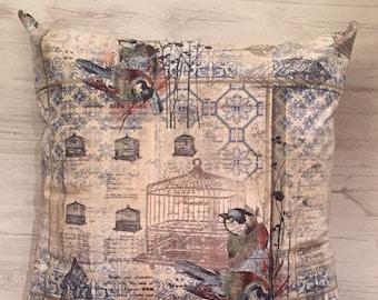 Bird Pillow Cover, Bird Cage Pillow Cover, Cottage Pillow, Bedroom Pillow, Decorative Bird Pillow, Songbird Pillow, Botanical Bird Pillow