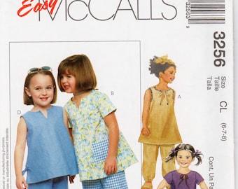 Girls Summer Outfit Girls Tunic and pants Girls Capri Pants McCALLS 3256 UNCUT Size 6-8 Girls Summer Top Girls Pants Pattern Girls Tops