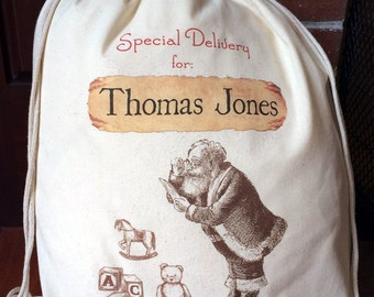 1 Santa Sack - Christmas Bag - Large Drawstring Canvas - Personalized Name - Santa with Toys Design - 17x20 - Made in the USA